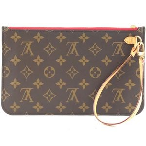 Neverfull Pochette XL Brown Coated Canvas Clutch